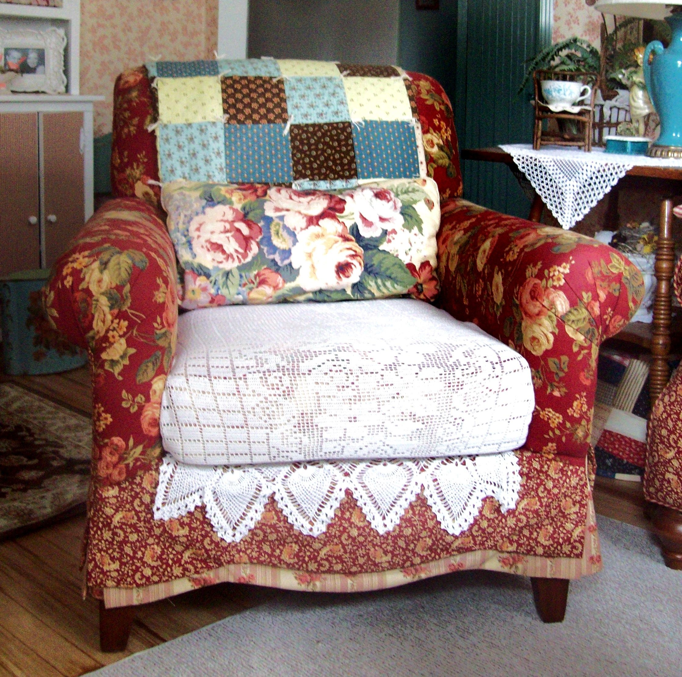 Red cottage chair just needs one of those big ottomans to go