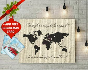 Personalized world map art faux burlap map print long distance personalized world map art faux burlap map print long distance map gift for gumiabroncs Images