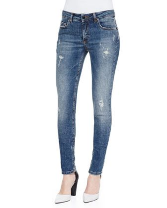 Deconstructed Super Skinny Denim Jeans by Victoria Beckham Denim at Neiman Marcus.
