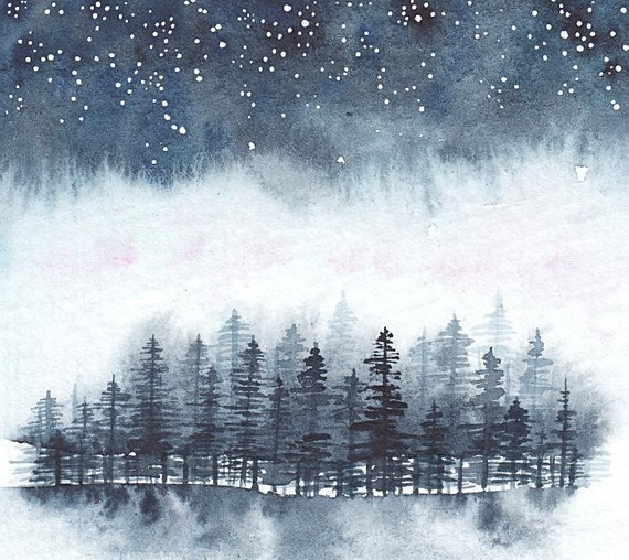 photo about Starry Night Printable titled Starry Evening higher than Forest Watercolor Print, Night time sky