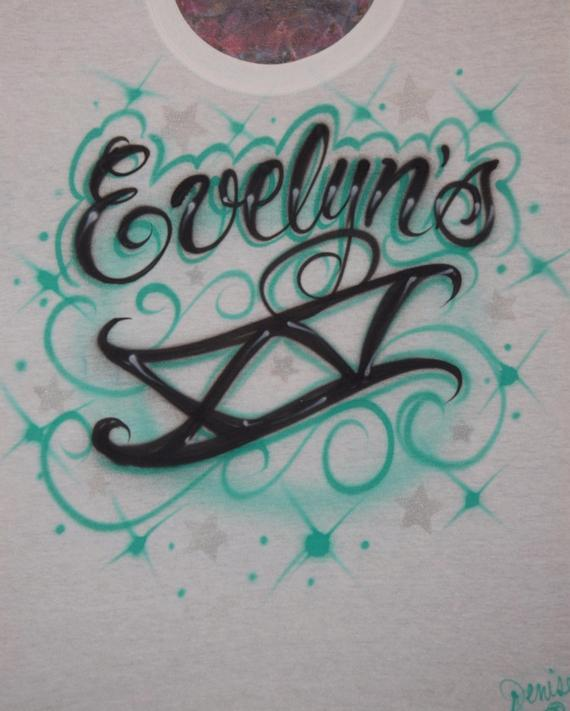 2e0d6658 Quinceanera Freehand XV Roman Numeral With Silver Stars Script Name Custom  Airbrush Design T Shirt