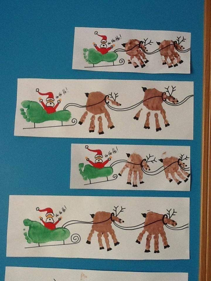 Xmas Art And Craft Ideas For Kids Part - 41: Holiday Handprint And Footprint Art: Handprint Reindeer Art With Footprint  - Sleigh Did The Foot Print Sleigh With Colin Xmas 2016