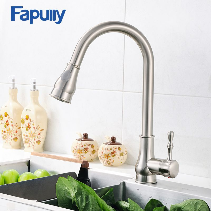 Fapully Kitchen Sink Faucet Brushed Nickel Mixer Tap Deck Mounted Single Hole Water Tap 3 Hole Cover Plate T Kitchen Sink Faucets Sink Faucets Kitchen Fixtures
