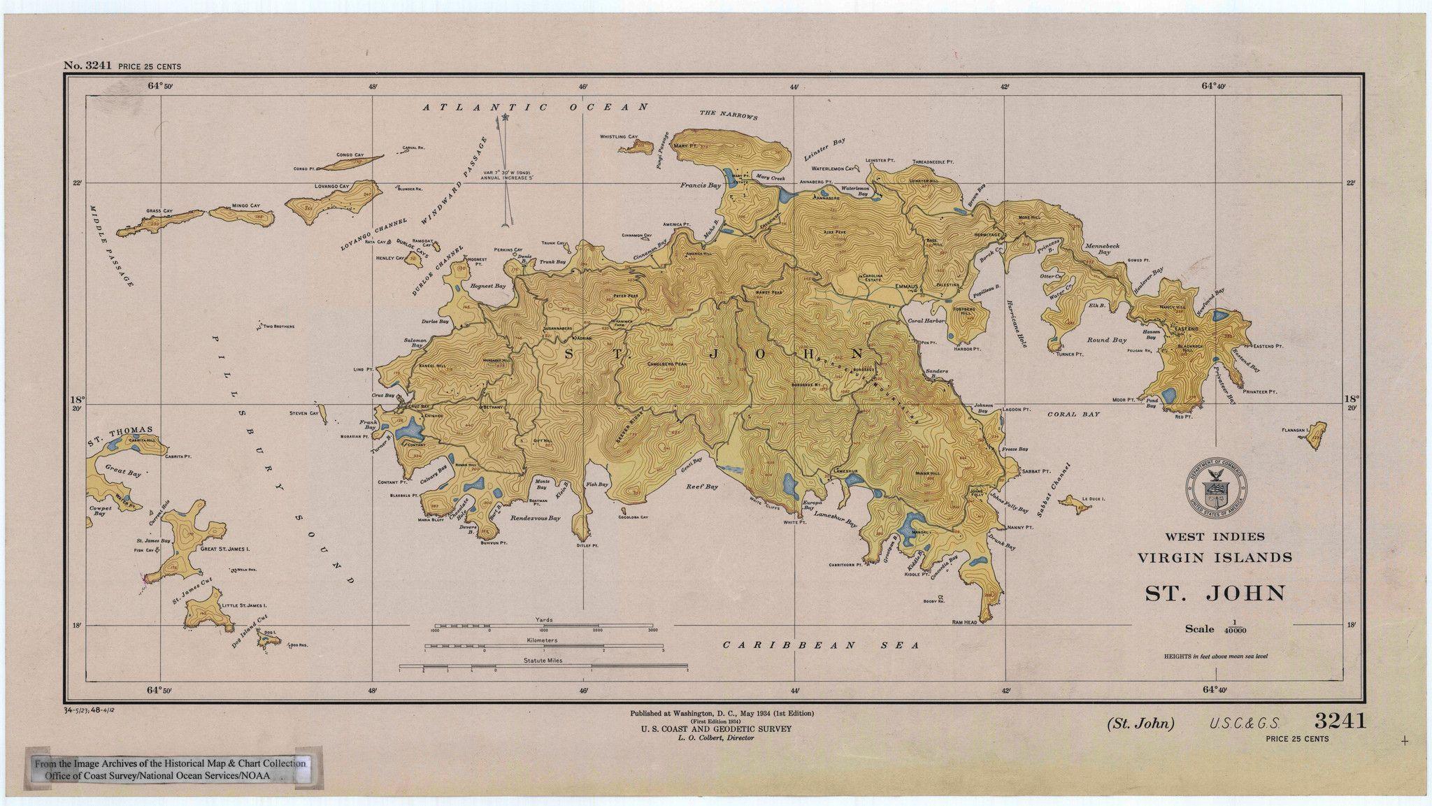 St John Map USVI Historical Chart Virgin Islands - Map of st john us virgin islands