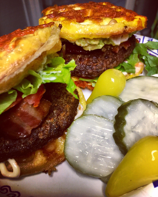 Air fried bacon burgers on cheddar cheese Chaffee buns