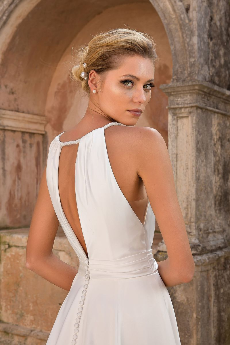 Style 88064 Rope Tied Plunging Halter Aline Dress