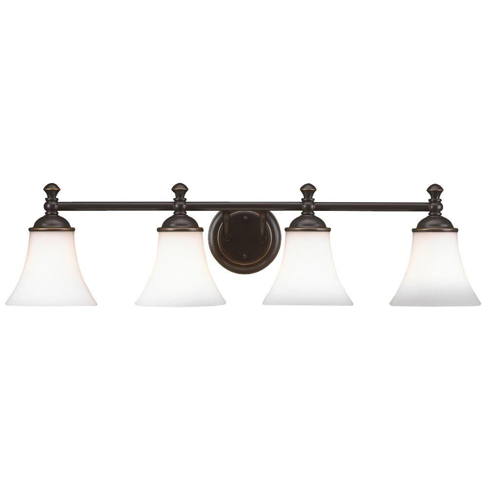 Hampton Bay Crawley 4 Light Oil Rubbed Bronze Vanity Light With
