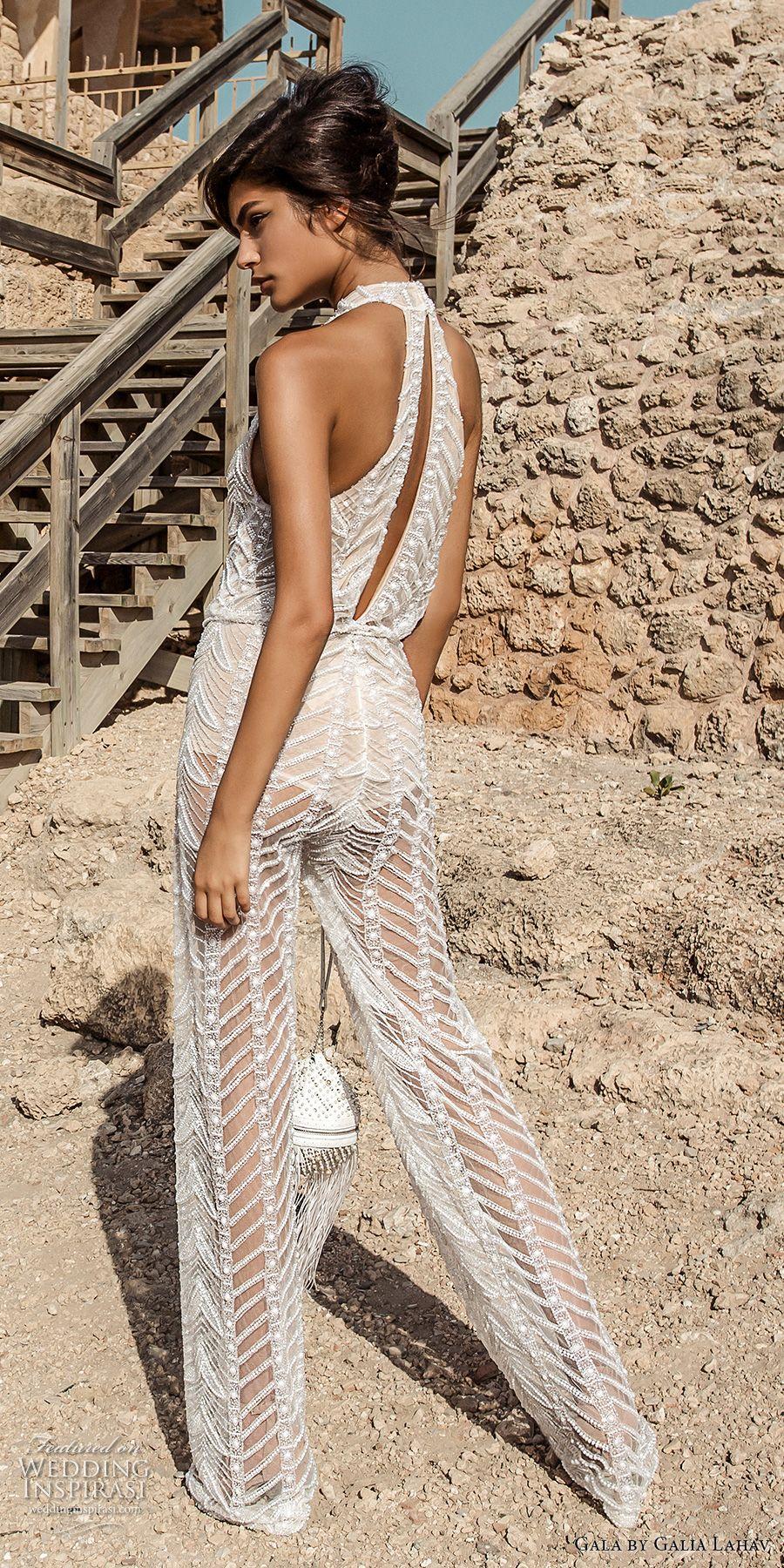 d7269a62e72d galia lahav gala 2017 bridal sleeveless high neck halter neck middle slit  full embroidered lace jumper suit wedding dress rasor back (811) bv
