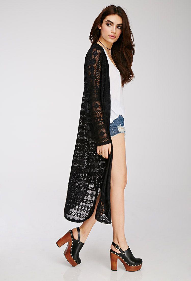 e8b38e3d6 Geo-Patterned Lace Kimono   Forever 21 - 2000078636   Women's ...