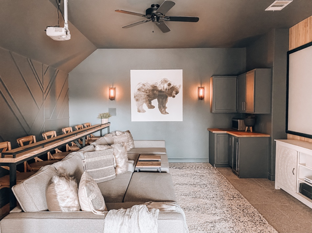 Media Room Makeover With The Home Depot Ourfauxfarmhouse Com In 2020 Home Cinema Room Home Home Theater Rooms