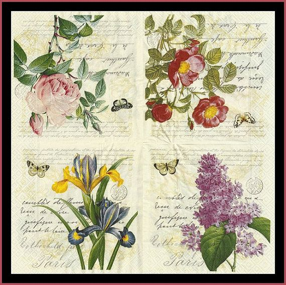4x Paper Napkins Decoupage for Party New Live Mix