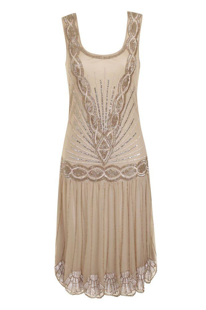 1920 vtg gatsby charleston flapper fringes tassels silver black dress UK12-14