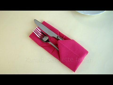 Bestecktasche Falten: Servietten Falten Einfach   Z.B. Tischdeko Hochzeit