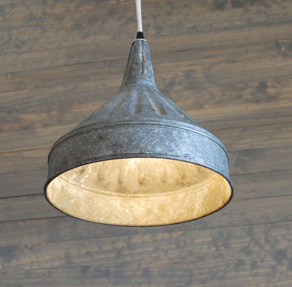 Upcycled Galvanized Vintage Farm Funnel Pendant Light With
