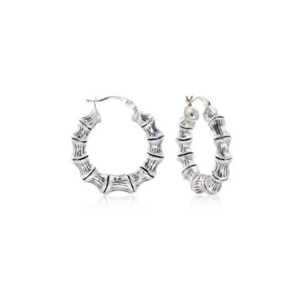 Ross Simons Sterling Silver Small Bamboo Hoop Earrings 1 8 Inches