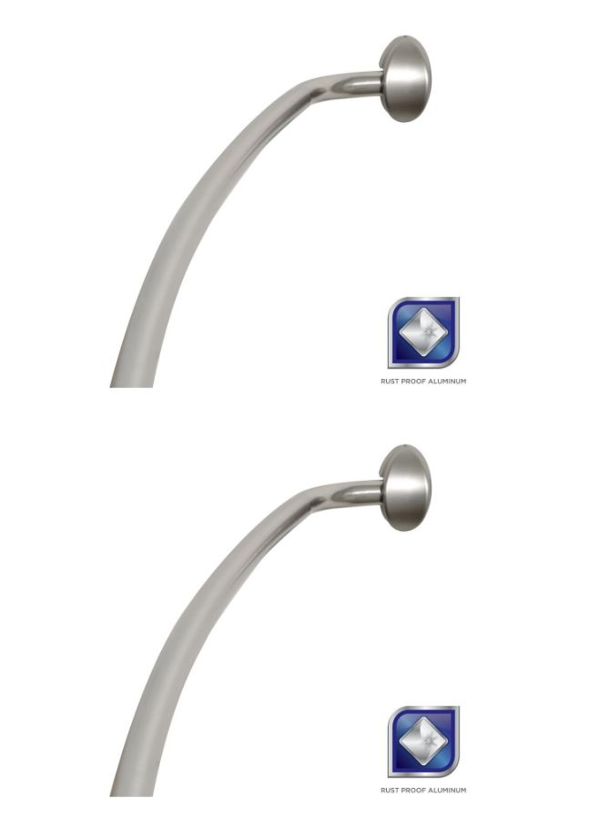 Shower Curtain Rods 168132 New Rustproof 72In Adjustable Permanent Mount Curved Rod In