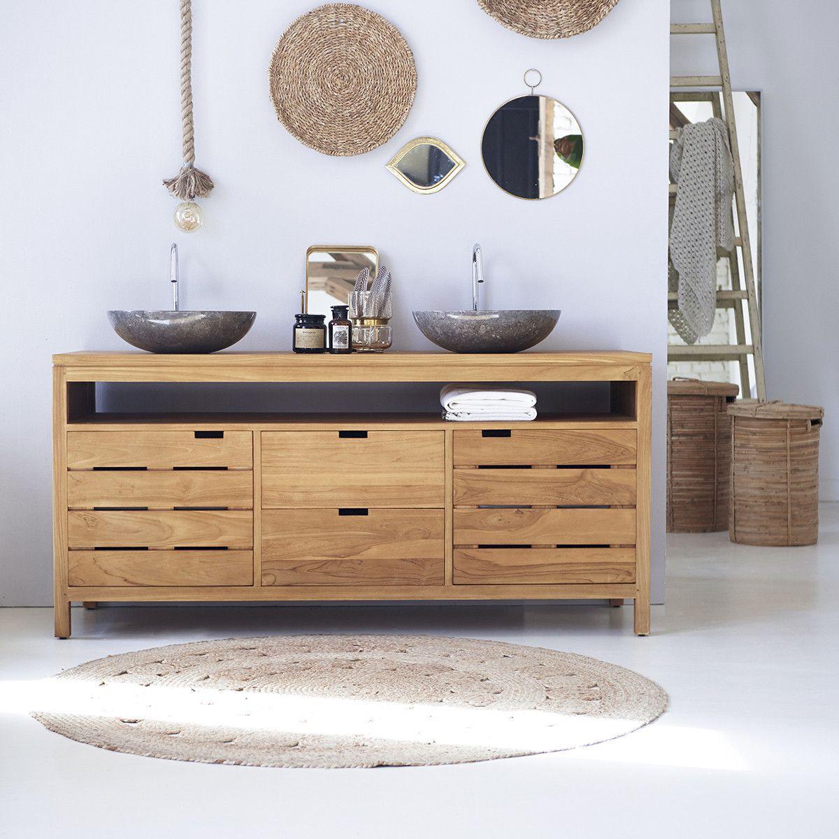 Photo of Solid teak wood vanity cabinet wash-stand counterdesign drawers bathroom