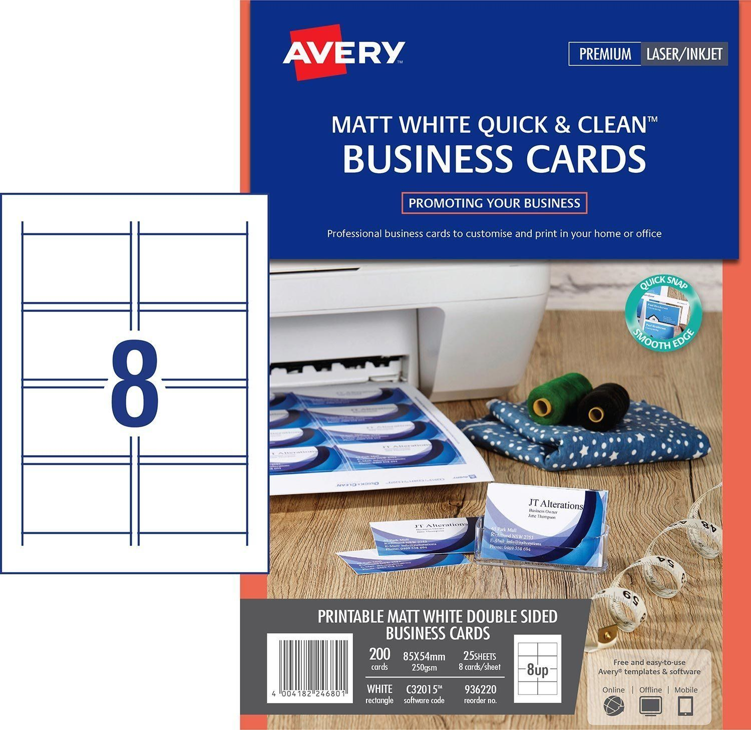 Avery Printable Business Cards Inkjet Printers 1000 Cards 2 X