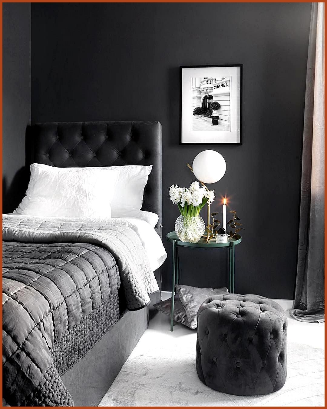 Graphite Grey Wall Bedroom almost black Black and white minimalist decor white flowers luxury interior single bedroom decor chic classy room contemporary modern decor white marble floor The Effective Pictures We Offer You About marble frame A quality picture can tell you many things You can find the most beautiful pictures that can be presented to you about marble rose in  hellip   #bedroom #black #graphite #whitemarbledecor #whitemarbleflooring