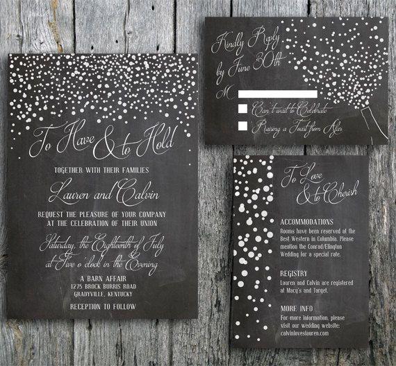 Chalkboard Wedding Invitation Suite With Confetti Rustic Wedding Set Includes Invite Rsvp A Chalkboard Wedding Invitations Chalkboard Wedding Rustic Wedding