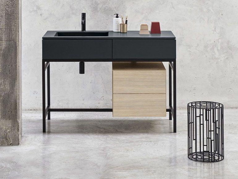 Mueble bajo lavabo de pie con cajones milano by ceramica - Mueble de bano para lavabo con pie ...