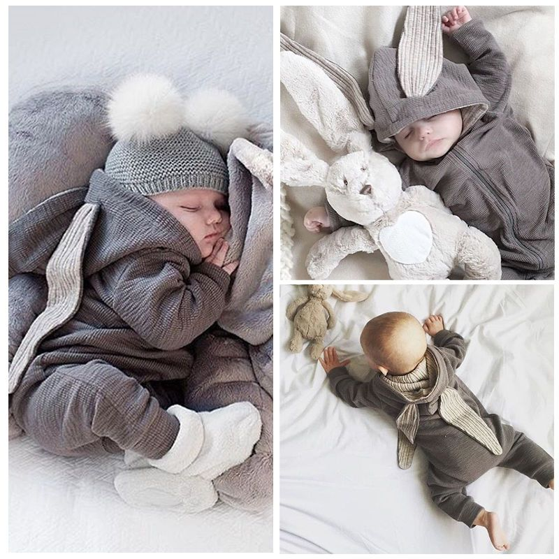 2249665162a4 Newborn Infant Baby 3D Bunny Warm Romper Jumpsuit