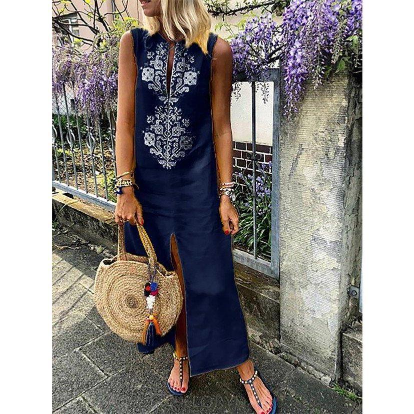 1ccd70d8e757 Women Shift Daytime Sleeveless Casual Slit Geometric Dress   Summer ...