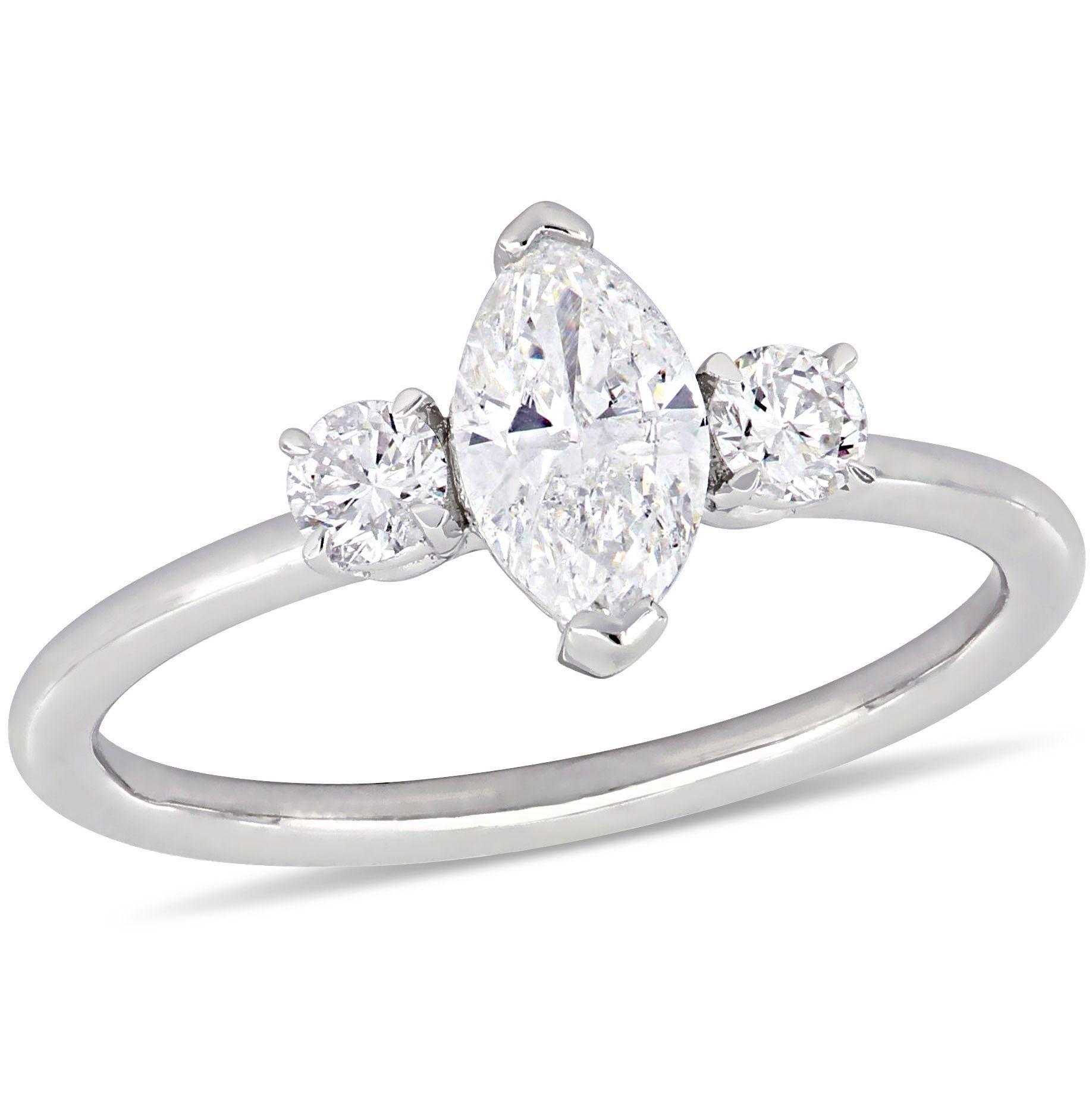 ThreeStone Marquise & Round 1ctw. Diamond Engagement Ring