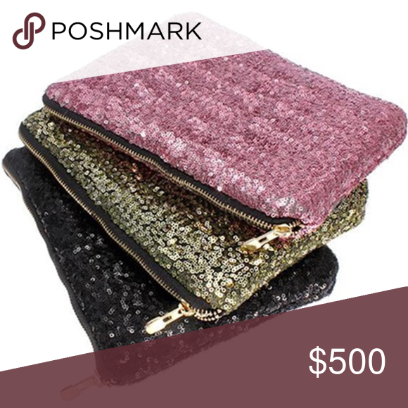 Sequin Cosmetic Bag Coming soon!  Will be available in pink, gold, and black. Bags Cosmetic Bags & Cases