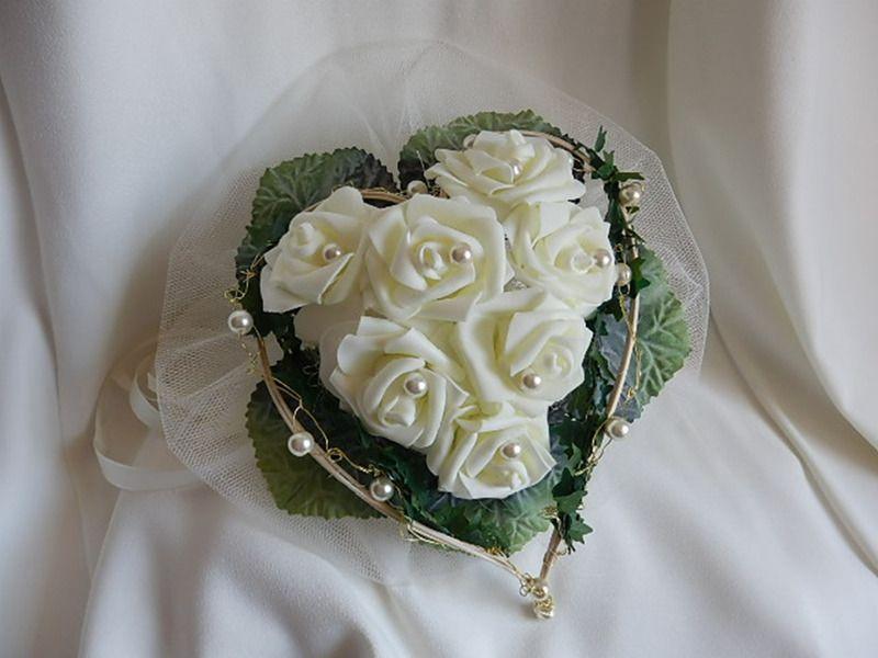 Accessoires Brautstrauss In Herzform Mit Creme Foamrosen Ein