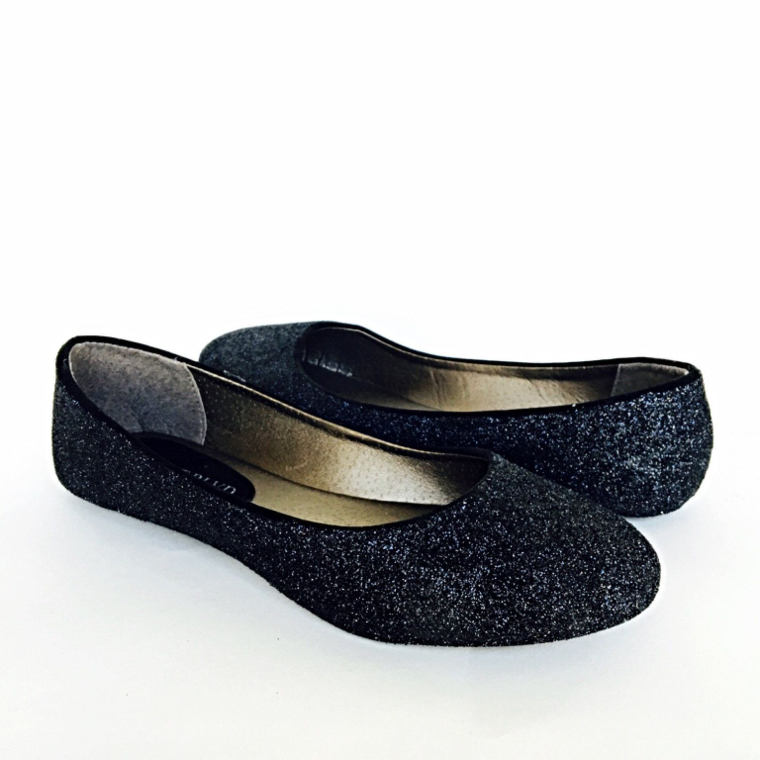 Black Flats Glitter Shoes Dark Ballet Sparkly Wedding Prom