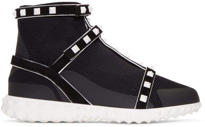 Valentino Black Valentino Garavani Studded Knit Sock High-Top Sneakers xKUUktTEFZ