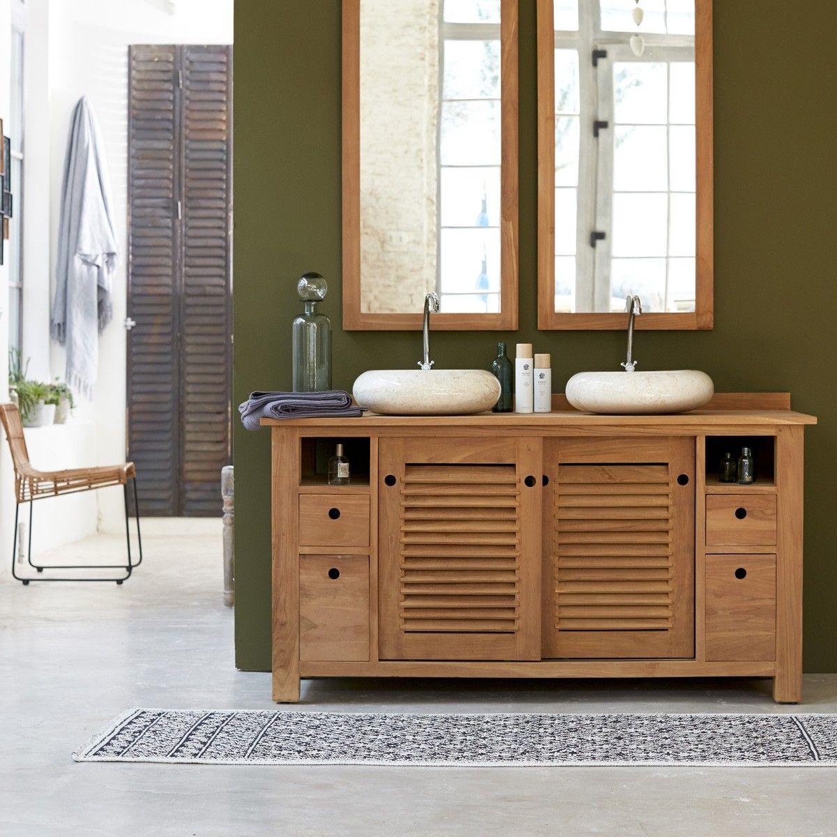 Meuble Salle Bain En Teck Pas Cher Bois Massif Double Vasque Mulchbrothers Tikamoon Teak Living Room Teak Bathroom