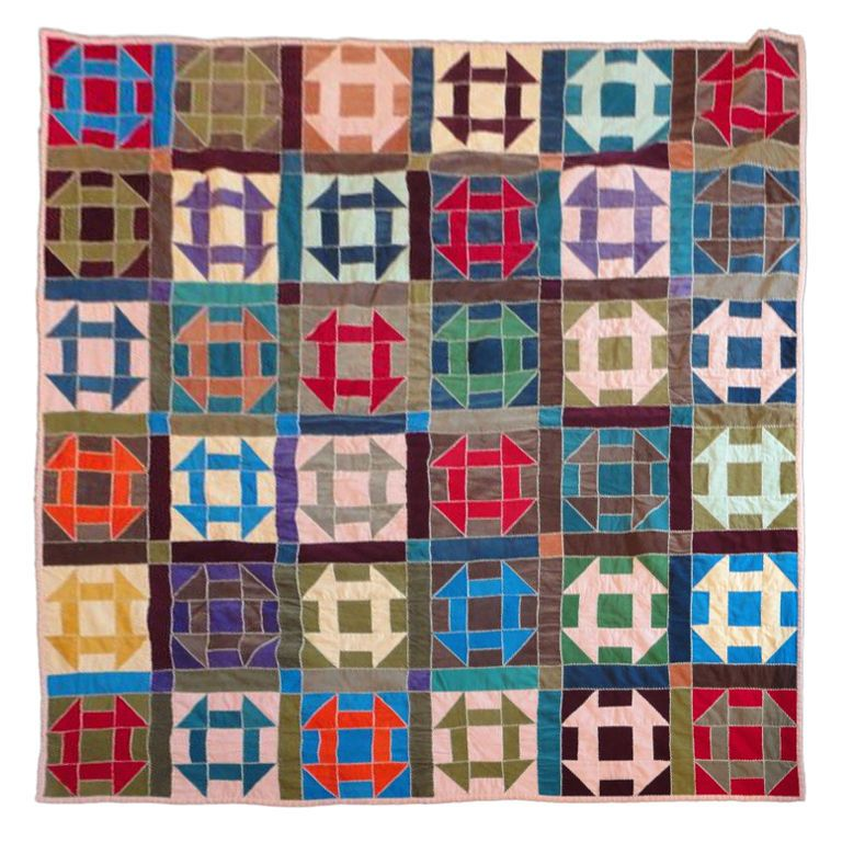 "1940's Amish ""shoo fly"" or ""hole in the barn door"" pattern quilt, Western Pennsylvania.  Cotton Corduroy"