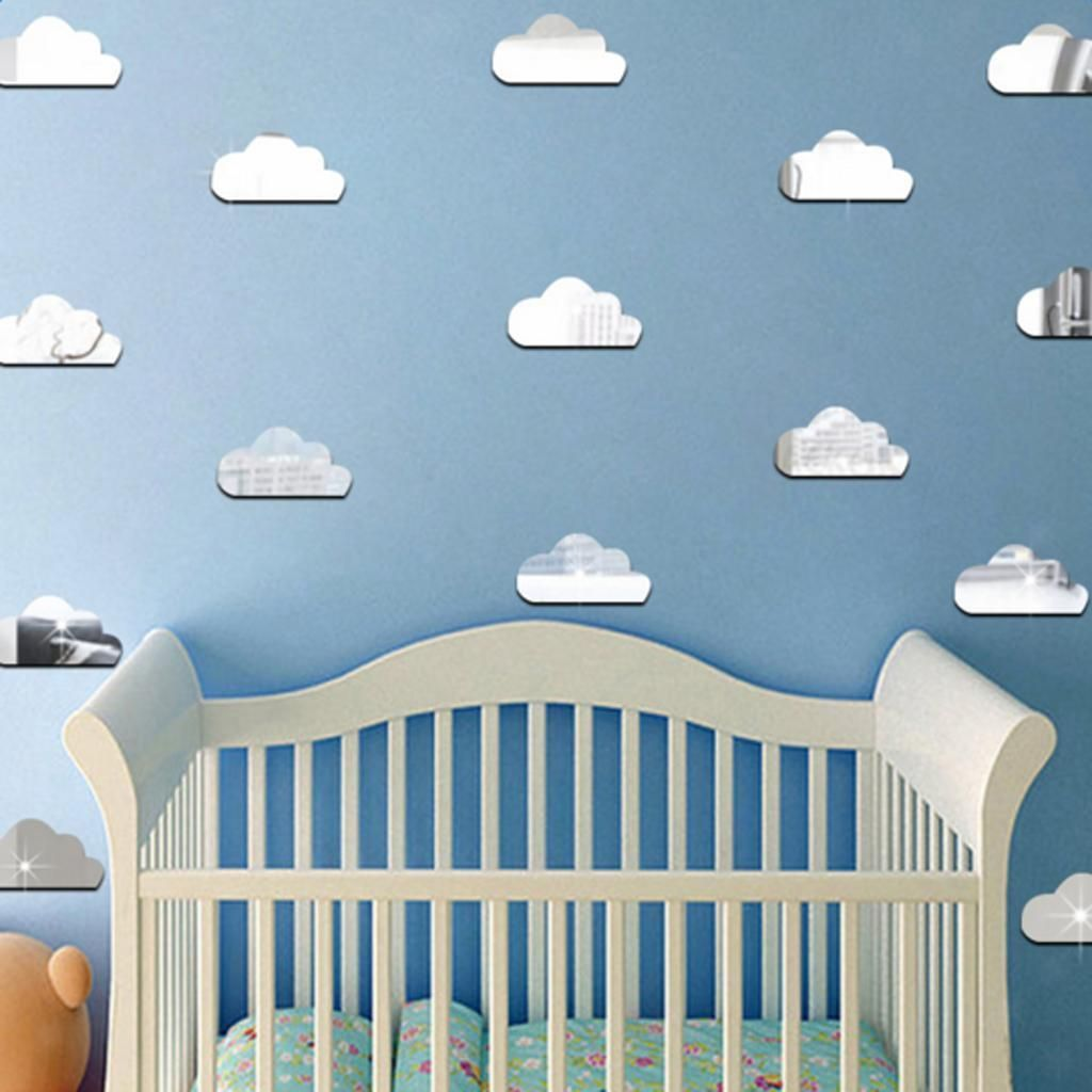 aud cute clouds wall art mirror stickers kids bedroom diy