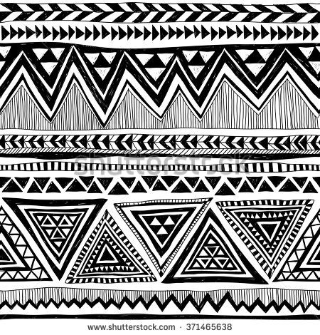 Black And White Tribal Navajo Vector Seamless Pattern With Doodle Elements Aztec Abstract Geometric Art Print Ethnic Hipster Backdrop Wallpaper