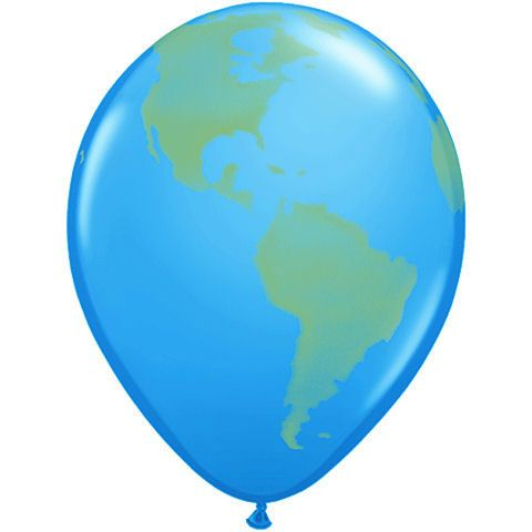 "Planet Earth//Globe Qualatex 16/"" Latex Balloons x 50"