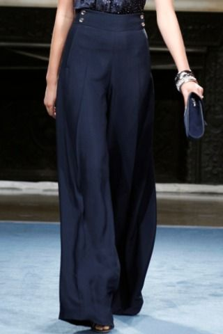 Salvatore Ferragamo Resort 2012 Wide Legged Silk Pants With Gold ...