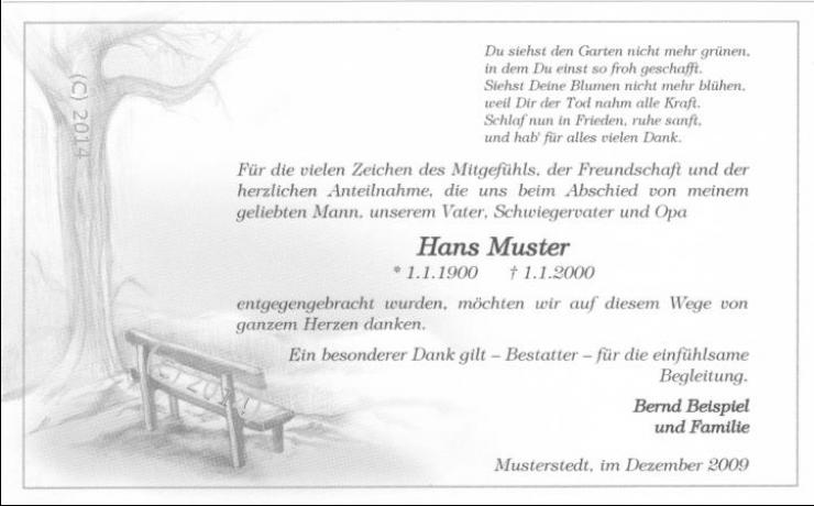 Danksagungskarte Beerdigung Bank Mit Baum Trauerkarte Danksagungen Trauer Danksagungskarten Trauer Danke Sagen