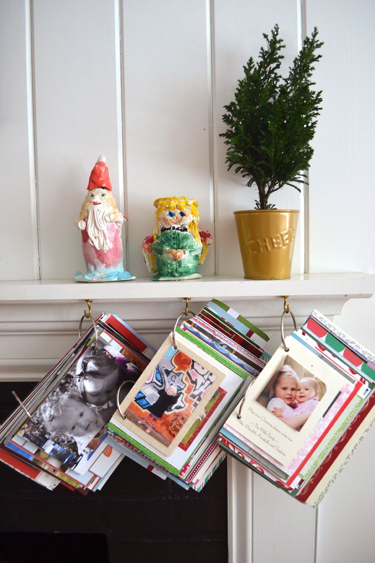 Diy Simple Book From Old Holiday Cards Christmas Card Display Christmas Card Book Diy Christmas Pictures