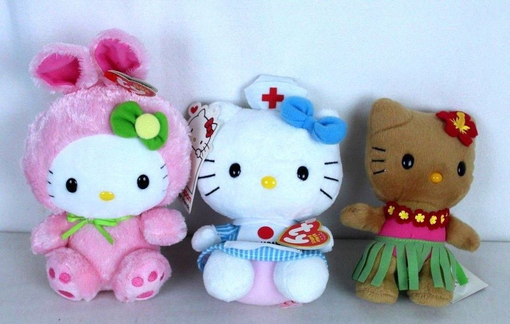 2f38cc4df6 Lot of 3 Hello Kitty Sanrio Plush Dolls Hawaiian Hula I Love Japan Easter  Bunny