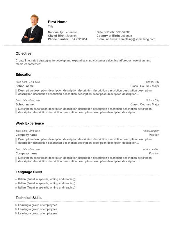Cv Specimen Professional  Resume Template With Photo