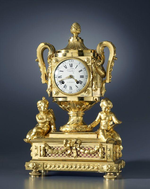 "<span class=""title"">A Louis XVI figural clock with music by Daniel Vauchez<span class=""title_comma"">, </span></span><span class=""year"">PAris, date circa 1780</span>"