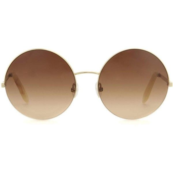 26c66f5cf4d7 Victoria Beckham Supra Round Sunglasses ($495) ❤ liked on Polyvore  featuring accessories, eyewear, sunglasses, glasses, fillers, brown, round  sunglasses, ...