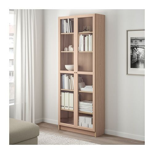 BILLY / OXBERG Bookcase with glass door – white stained oak …
