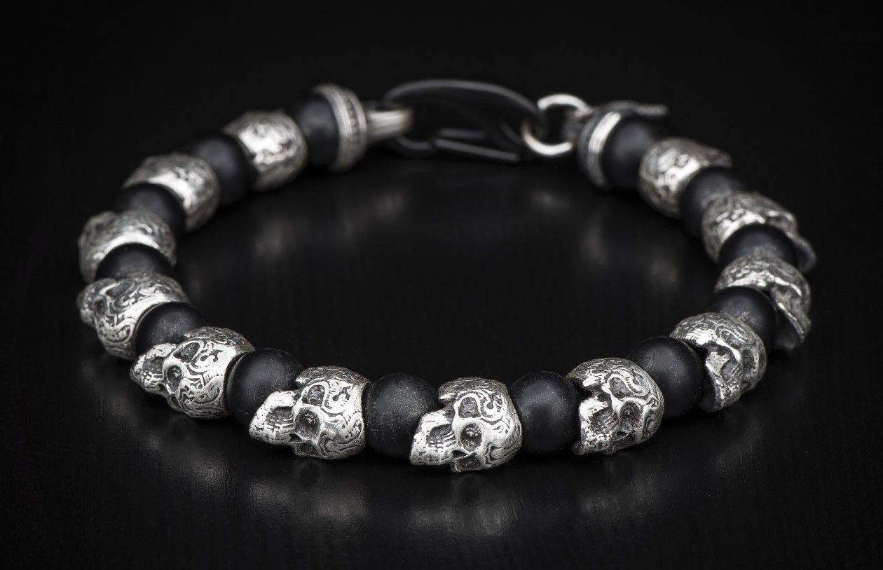 Beaded Skull Bracelet With Sterling Silver Frosted Black