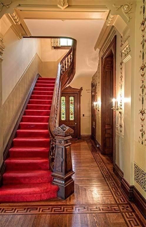 Foyer Stairs For Sale : Foyer of th century victorian mansion with a hand