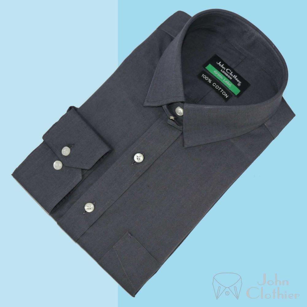 Mens Tab Collar Shirt Grey Bankers Loop James Bond Collar 100