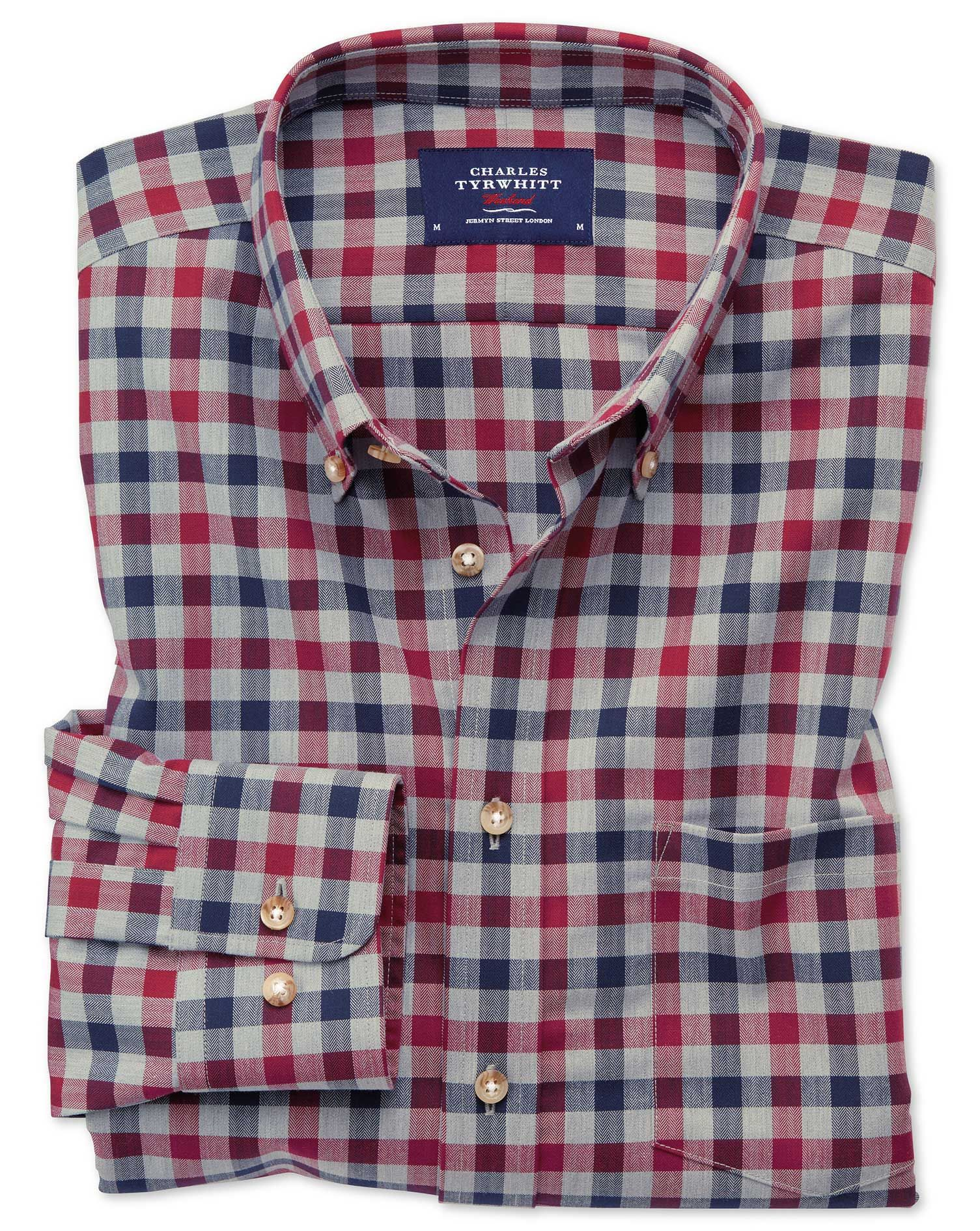 1a399f6f Extra slim fit button-down non-iron twill red and navy blue gingham shirt