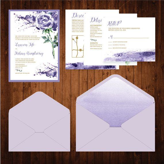 5x7 Purple Water Color Flower Wedding Invitation Suite with RSVP, Directions and Details Insert